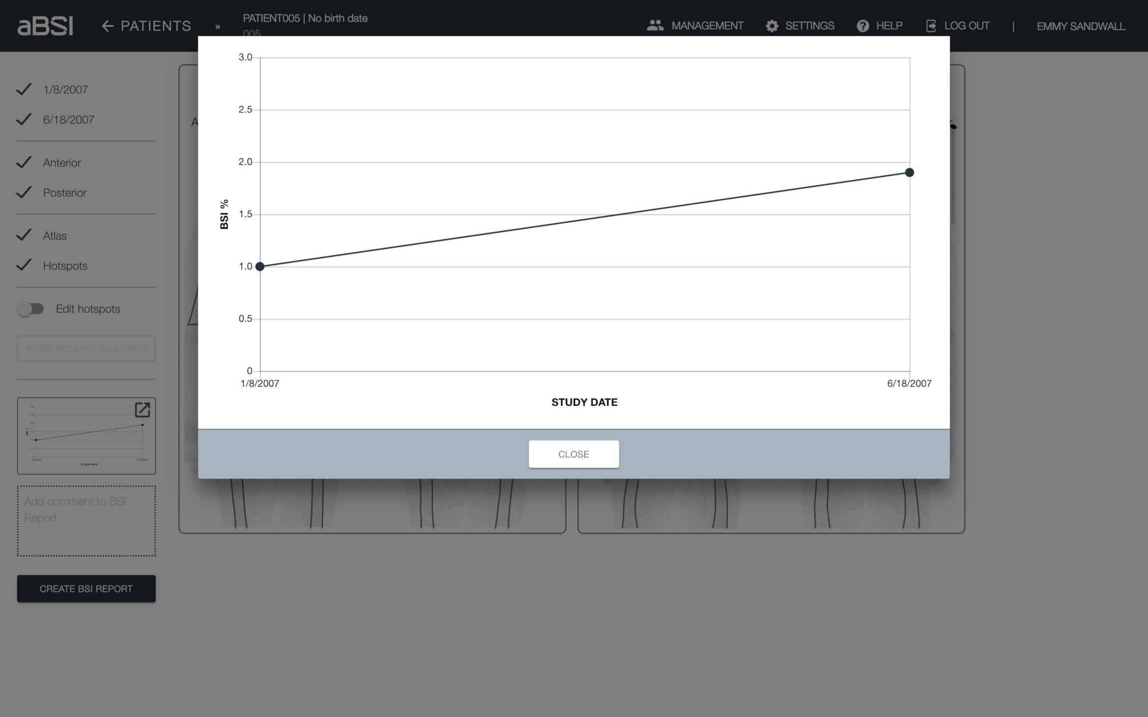 Graphical Visualization  aBSI generates a trend curve to make it easier to compare BSI values between studies.